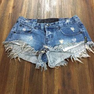 One Teaspoon denim cut-off jean shorts